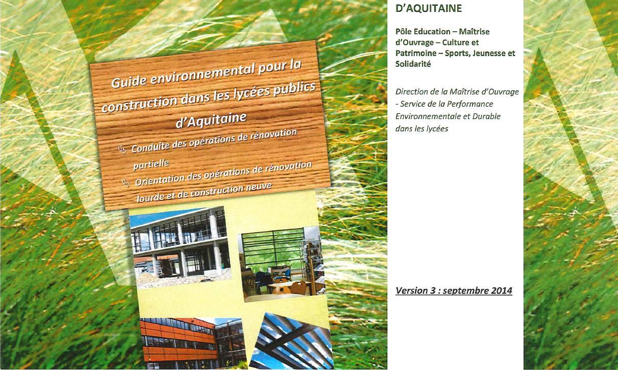 Couverture du Guide environnemental©Conseil Régional Aquitaine