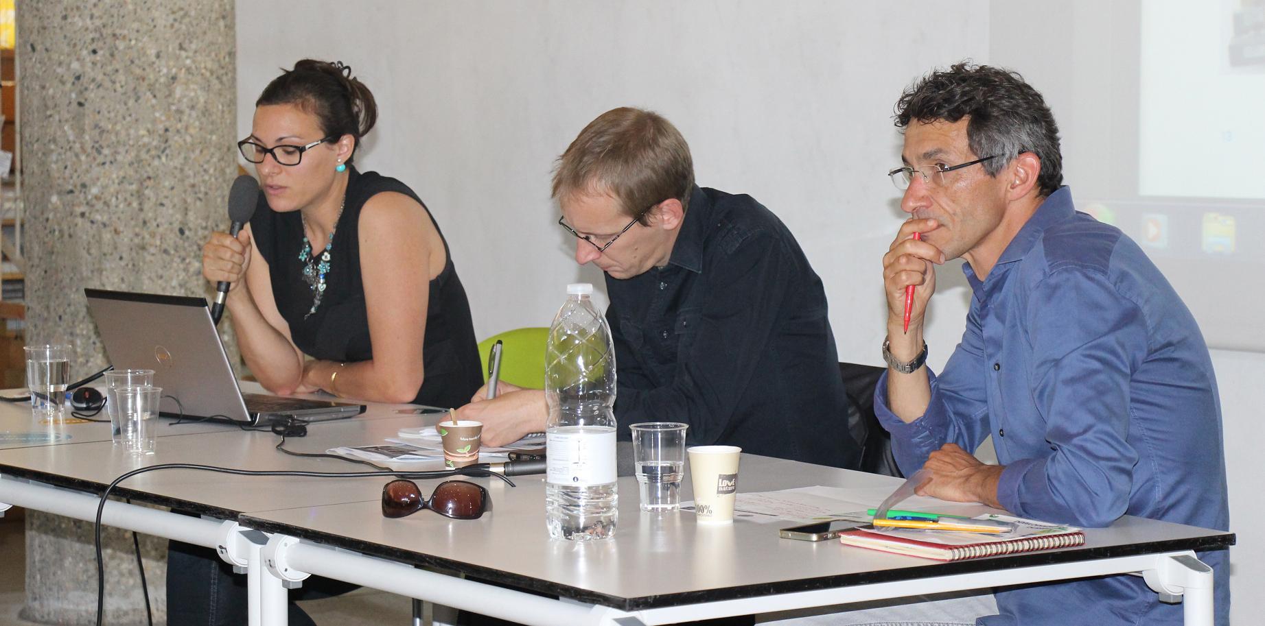 Aude Lacourt, Eric Pautard, Hervé Cazenabe lors de la matinée du Jeudi 18 juin 2015©GRAINE Aquitaine