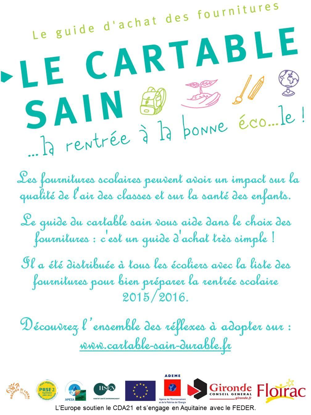Le poster du «cartable sain» est affiché dans toutes les écoles de Floirac©ADEME