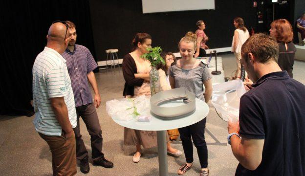 Le plant d'ambroisie et l'éco-piège ont suscité de nombreuses réactions © GRAINE Aquitaine
