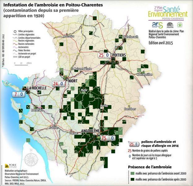 Carte de répartition de l'ambroisie©Observatoire Régional de l'Environnement Poitou-Charentes - avril 2015