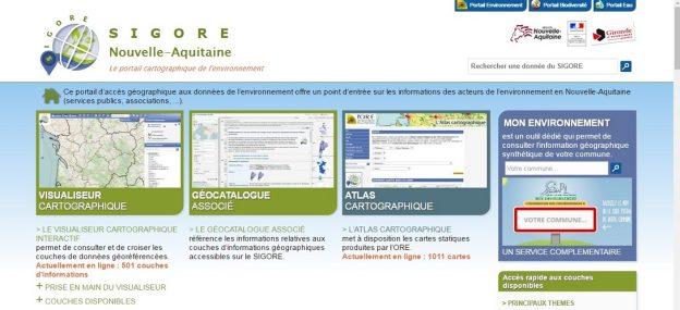 Page d'accueil du site SIGORE Nouvelle-Aquitaine